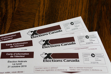 Election Canada voters registration cards for federal elections