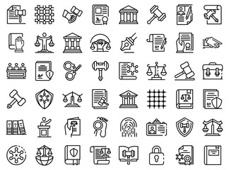 Justice icons set. Outline set of justice vector icons for web design isolated on white background - fototapety na wymiar