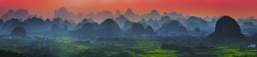 Wall Murals Guilin Sunset scenic view at Yangshuo, Guangxi, China.