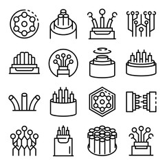 Optical fiber icons set. Outline set of optical fiber vector icons for web design isolated on white background