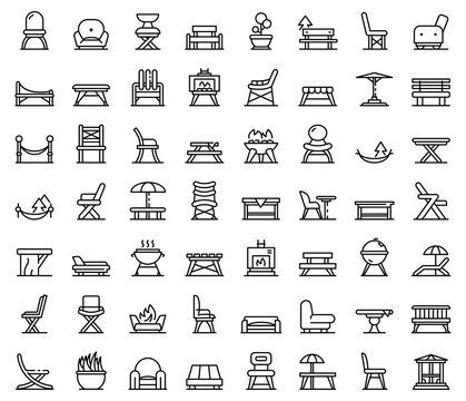 Garden furniture icons set. Outline set of Garden furniture vector icons for web design isolated on white background