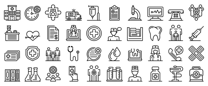 Family health clinic icons set. Outline set of family health clinic vector icons for web design isolated on white background