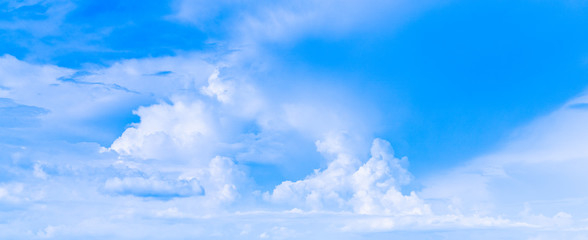 Blue sky and white clouds on clear Sunny Day, Panorama Landscape, Background With Clouds