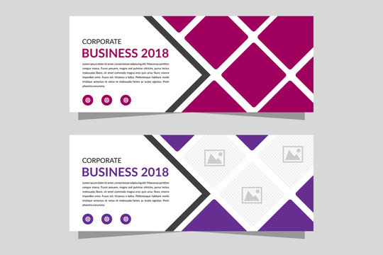 Design of a vector template banner with a place for the image. Universal design template for advertising. dark red and purple color.