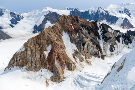 Jagged peaks among the ice fields in Kluane National Park, Yukon, Canada