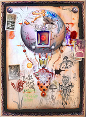Spoed Foto op Canvas Imagination Steampunk hot air balloon with old stamps and occult and mysterious symbols
