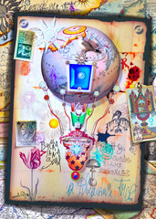 Spoed Fotobehang Imagination Fantastic and steampunk hot air balloon with tarot cards and symbols