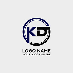 Circle logo with the letter KD inside. letters connecting with circles. Logo circle modern abstract