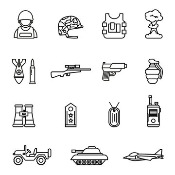army and military icon set with white background. Thin Line Style stock vector.
