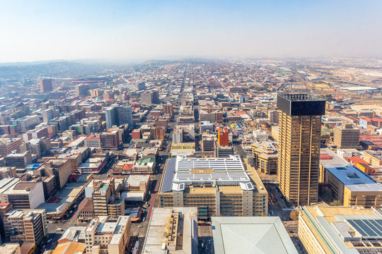 Central business district of Johannesburg city panorama, South Africa