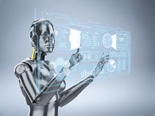 Female cyborg or robot
