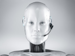 cyborg or robot with headset