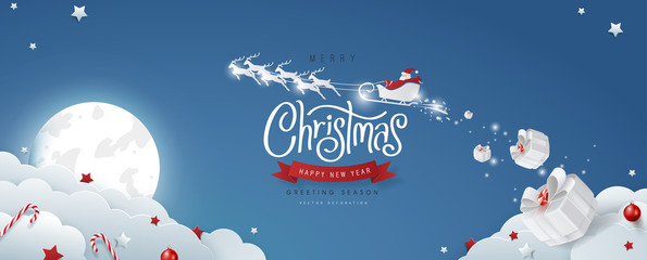 Fototapete - Winter christmas composition in paper cut style.Merry Christmas text Calligraphic Lettering and Santa Claus on the sky Vector illustration.