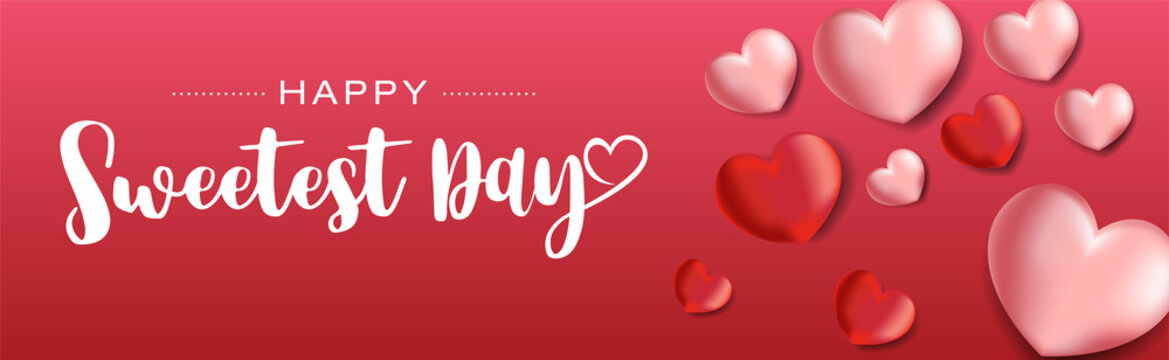 Happy Sweetest Day lettering with heart shaped balloons. Vector