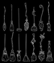 Set of cute broomstick doodles on a chalkboard. Collection of Happy Halloween related icons - magic brooms. Cartoon images elements: witch or wizard old brooms