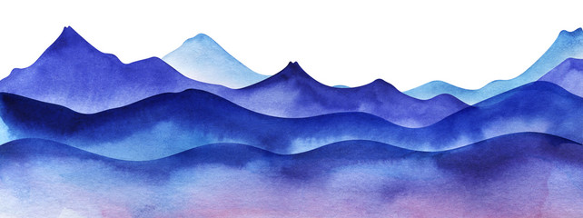 Silhouette of watercolor mountains. Layered Light, violet and bright blue mountain ranges. Decorative border element for page design. Gradient from dark to pale. Hand drawn illustration