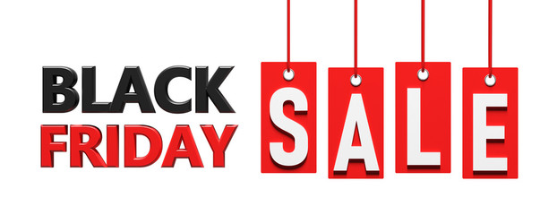 Wall Mural - Black Friday sale. Text on red price labels hanging on white background. 3d illustration