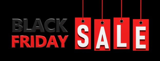 Wall Mural - Black Friday sale. Text on red price labels hanging on black background. 3d illustration