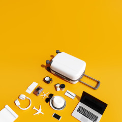 Wall Mural - Suitcase with traveler accessories on yellow background. travel concept. 3d rendering