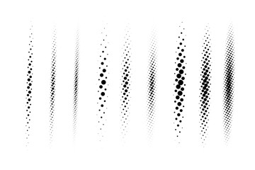Wall Mural - Halftone vector divider lines set. Circle dots linear gradient pattern textures isolated on white background. Straight dotted spots using halftone circle dot raster texture. Lineal blot half tone.