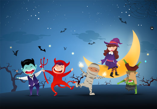 Happy Halloween Day Party. Group of Cute kids in halloween costume on night full moon with blue background.