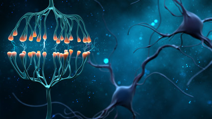 Synapse and Neuron cells sending electrical chemical signals. Digital synapse illustration on blue background.