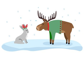Cute moose and hare flat color illustration. Xmas drawing