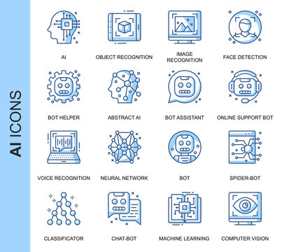 Thin Line Artificial Intelligence Related Vector Icons Set for Website and Mobile Site and Apps. Outline icons design. Contains such Icons as Recognition, Support Bot and more. Linear Pictogram Pack.
