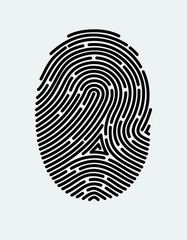 Fingerprint icon. Cyber security concept. Digital security authentication concept. Biometric authorization. Identification. Vector illustration black isolated fingerprint sign on white background
