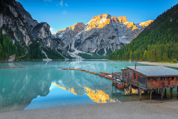 Wall Mural - Picturesque alpine landscape with turquoise mountain lake, Dolomites, Italy, Europe