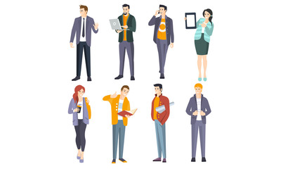 Office workers with laptop, book and coffee in modern clothes. Vector illustration.