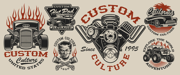 Set of vintage hot rod designs on the light background
