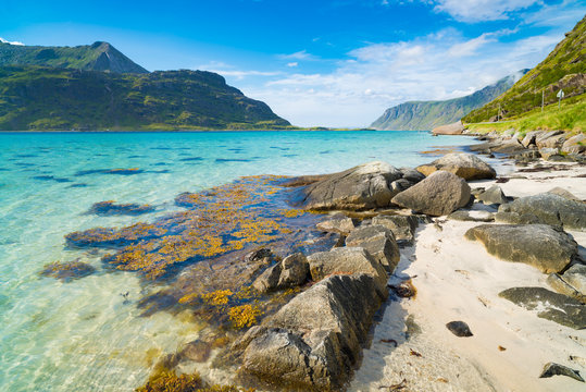 beautiful sand beach on the lofoten islands in Norway