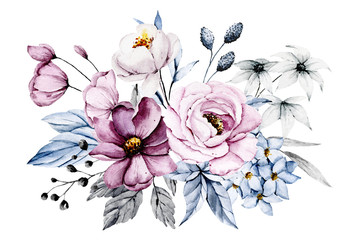 Fototapeta Pink and blue flowers, leaves watercolor floral clip art. Bouquet perfectly for printing design on invitations, cards, wall art and other. Isolated on white background. Hand painting.  obraz