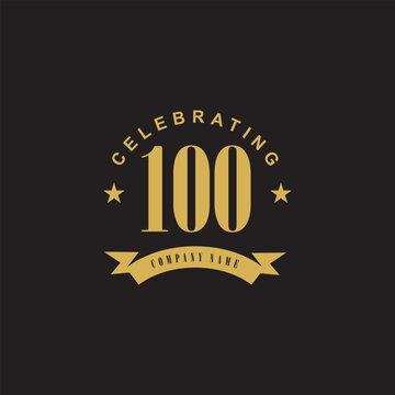 100th years celebrating anniversary icon logo design vector template
