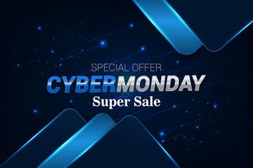 cyber monday super sale modern techno banner background vector template