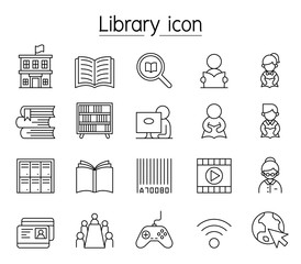 Library icon set in thin line style