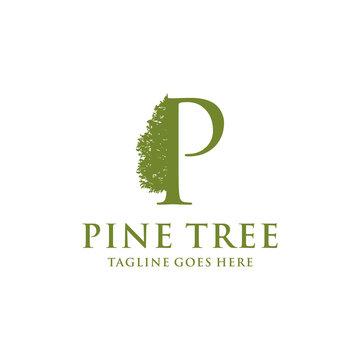 Illustration of Rustic Retro Vintage Evergreen, Pines, Spruce, Cedar trees logo design