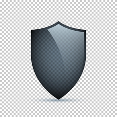 Glass shield isolated on transparent background. Vector design element.