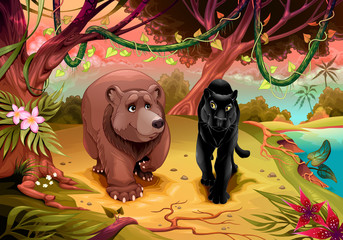 Photo sur Plexiglas Chambre d enfant Bear and black panther walking together in the forest