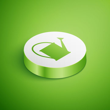 Isometric Watering can icon isolated on green background. Irrigation symbol. White circle button. Vector Illustration