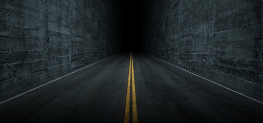 Sci Fi Futuristic Asphalt Tunnel Corridor Garage Cement Road Double Lined Concrete Walls Underground Dark Night Car Show Neon Glowing Arc Stage Showroom 3D Rendering