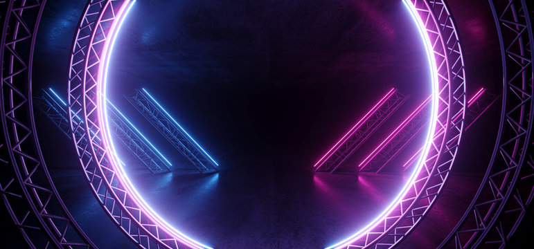 Circle Construction Gate Sci Fi Futuristic Neon Glowing Purple Blue Laser Lines Reflective Concrete Grunge Dark Night Show Stage Entrance Garage Underground Retro Modern Virtual 3D Rendering