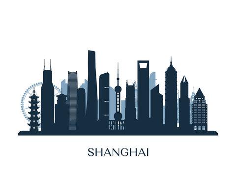 Shanghai skyline, monochrome silhouette. Vector illustration.