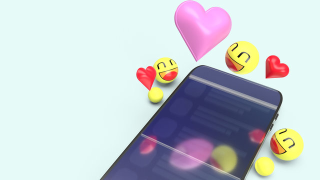 smartphone  emotion icon 3d rendering image for  social media concept..