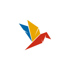 Poster Geometric animals Origami style of bird logo design vector template