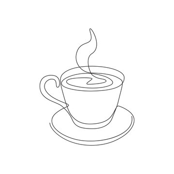 vector one line illustration of a coffee or tea mug isolated on white.