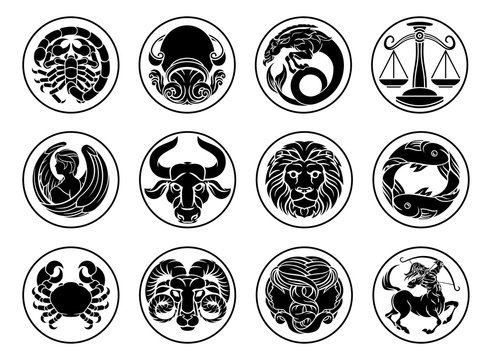 Zodiac horoscope astrology star signs icon symbols set