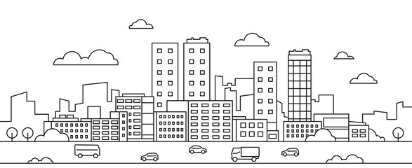 Deurstickers Cartoon cars Line city landscape. Urban cityscape with skyscrapers, buildings, street, park and cars, modern linear background. Vector illustration sketch art silhouette downtown with graphic scene environment