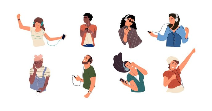 People listen to music. Happy cartoon characters dancing and listen music via smartphone. Vector isolate illustrations young diverse persons with headphones enjoy audio sound
